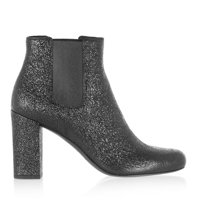 Saint Laurent Babies Cracked-Leather Ankle Boots