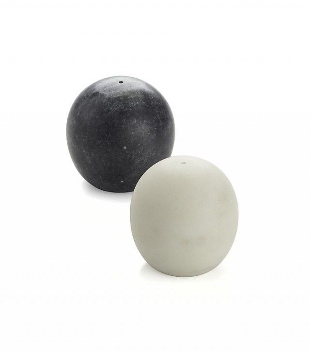 Crate & Barrel Marble Salt and Pepper Shakers
