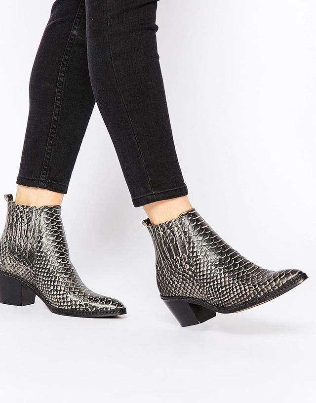 H by Hudson Celeste White Snake Ankle Boots
