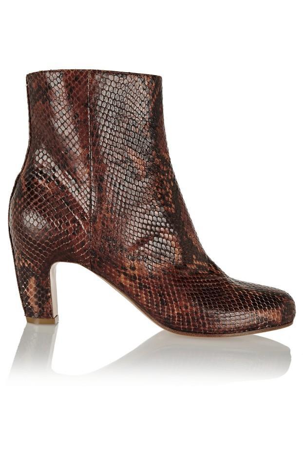 Maison Margiela Snake-Effect Leather Boots