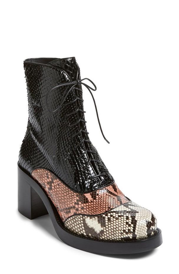 Miu Miu Block Heel Python Lace-Up Boots