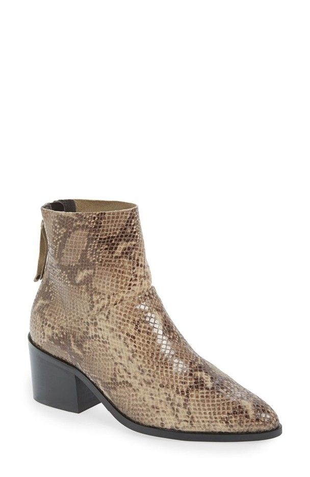Topshop Midnight Snake-Embossed Ankle Boots
