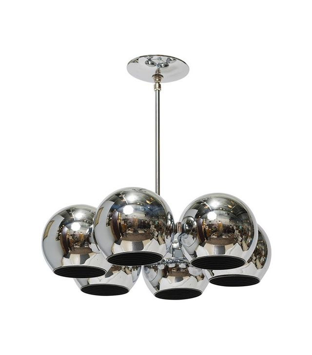 Vintage Circular Chrome Chandelier With Six Globular Shades