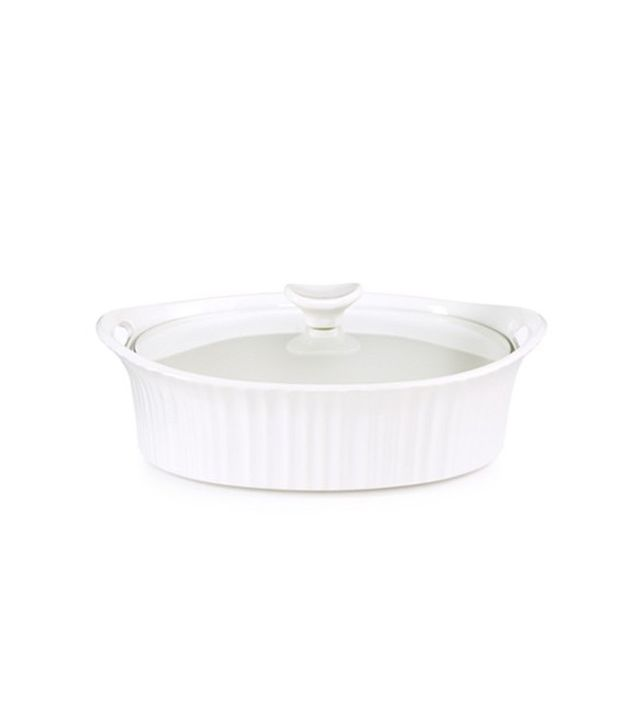 Corningware White 2.5-Qt. Oval Casserole with Glass Cover