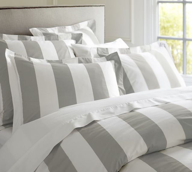 Pottery Barn PB Classic Stripe 400-Thread-Count Queen Quilt Cover