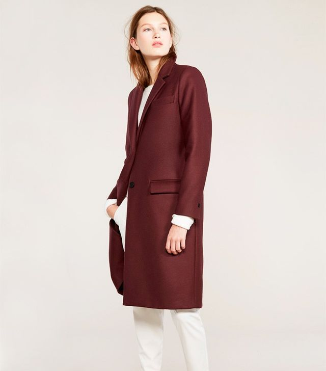 Everlane The Women's Wool Overcoat in Burgundy