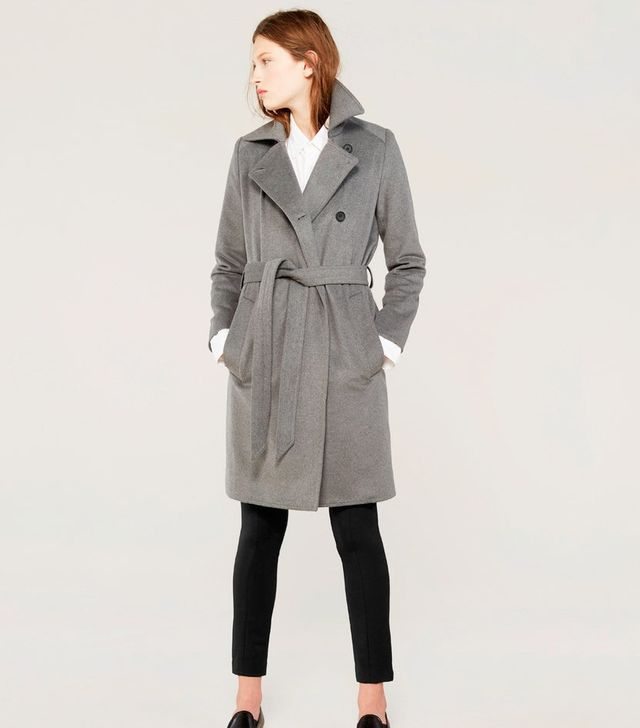 Everlane The Women's Wool Trench in Light Grey