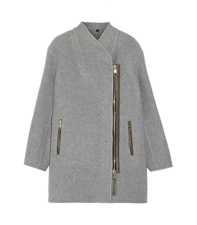 Burberry Prorsum Suede-Trimmed Cashmere Coat