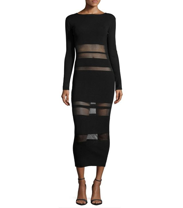 Self-Portrait Long-Sleeve Mesh-Trim Midi Dress