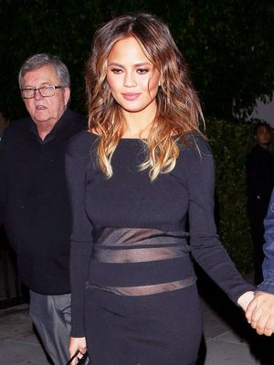 Chrissy Teigen Wore a Sheer-Paneled Dress for Date Night