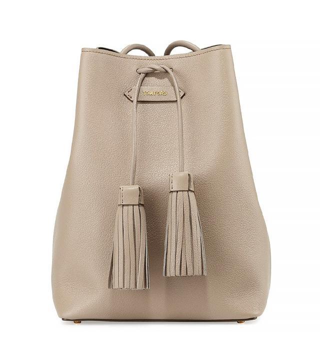 Tom Ford Leather Double-Tassel Medium Bucket Bag