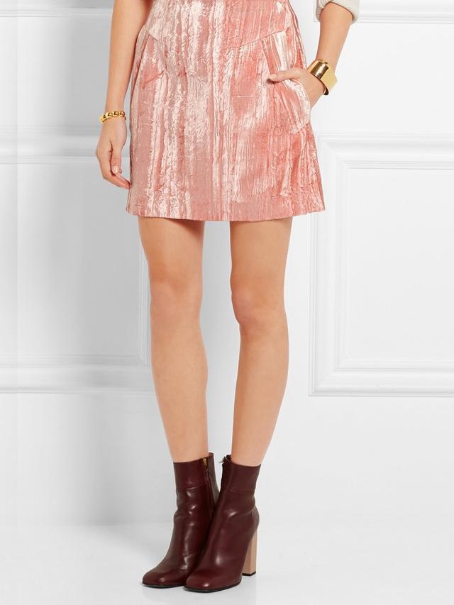 Topshop Unique Mayall Crushed Velvet Mini Skirt