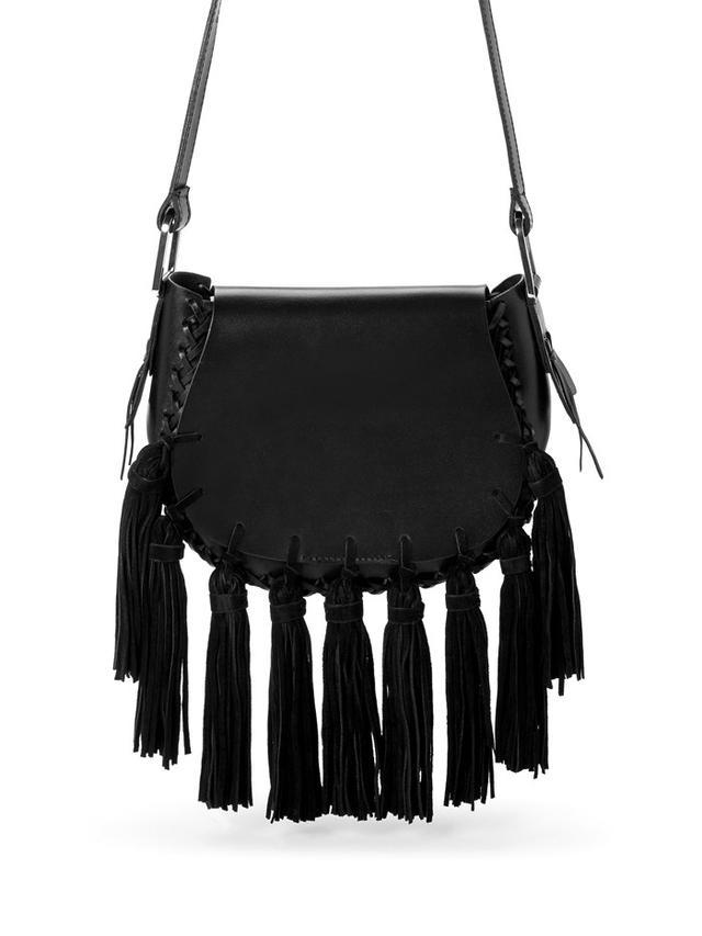 Mango Fringe Leather Bag