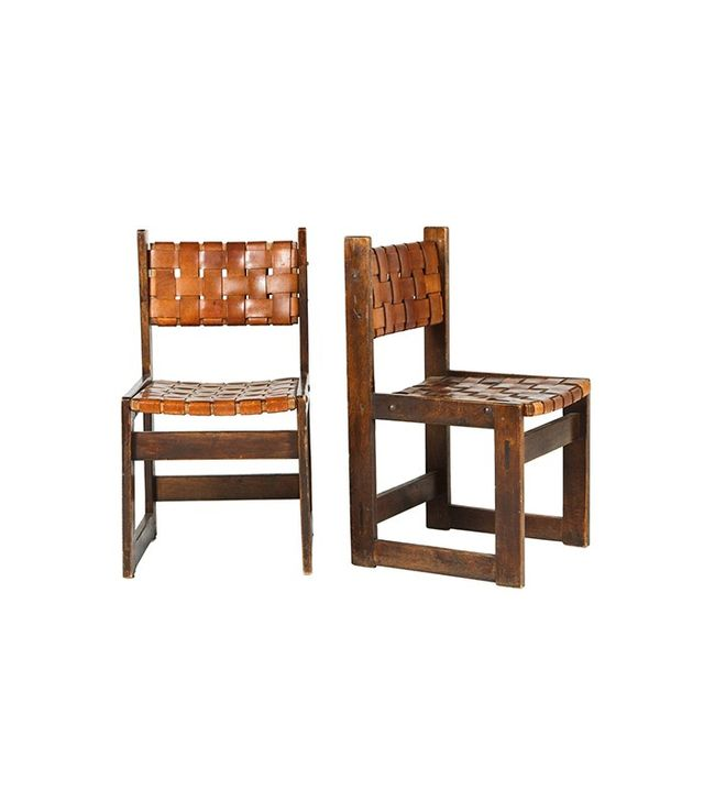 Vintage Pair of Woven Leather Chairs