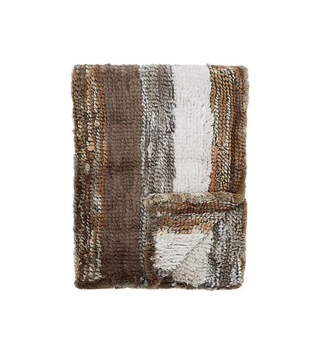 Adrienne Landau Mixed Stripe Knitted Fur Throw
