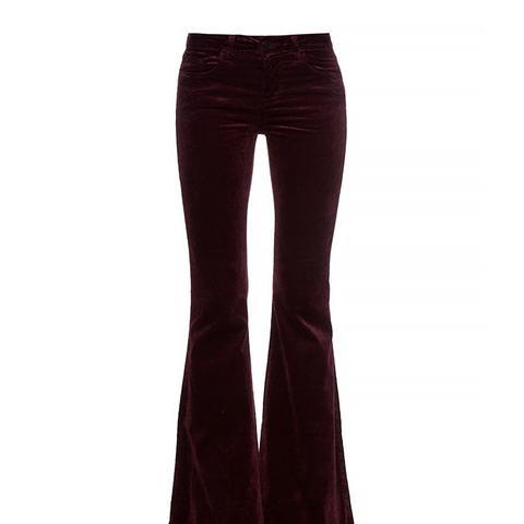 Bella Mid-Rise Flared Velvet Jeans