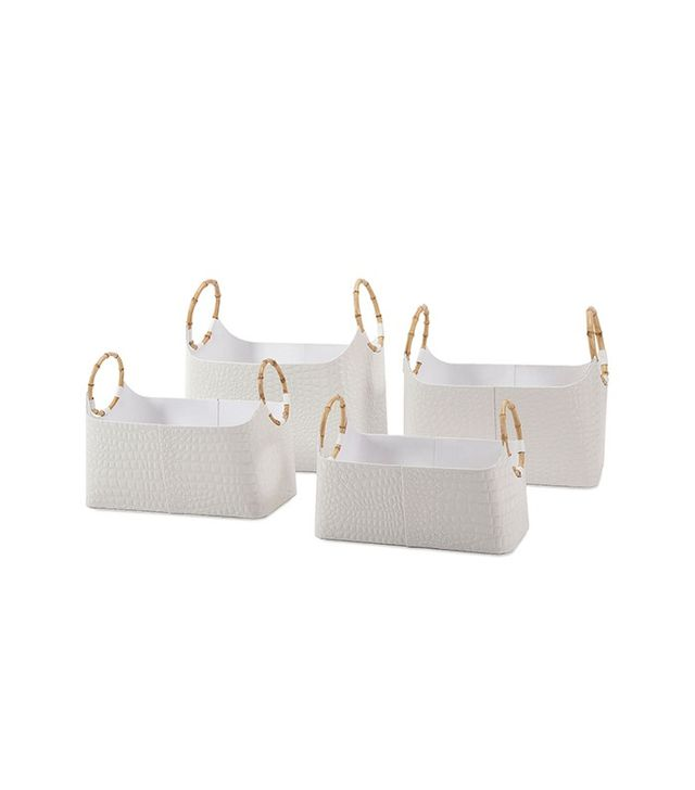 One Kings Lane Set of Four White Baskets