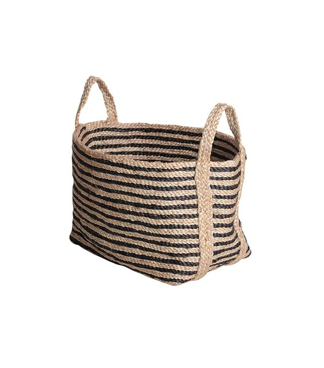 The Dharma Door USA Small Jute Floor Basket in Charcoal Stripe