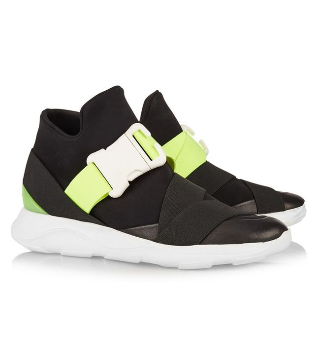 Christopher Kane Neon and Leather-Trimmed Neoprene Sneakers