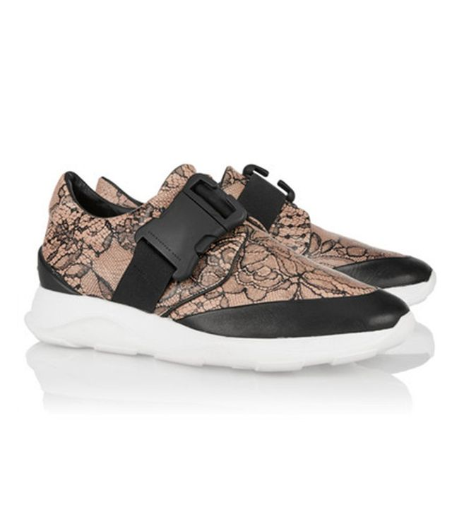 Christopher Kane Lace-Print Leather Sneakers
