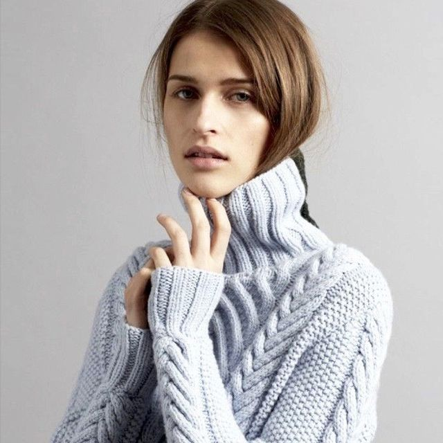 Go Pastel for Fall With a Cozy Light-Blue Turtleneck
