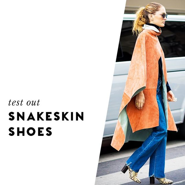 Looking to punch up your shoe game? Try something in snakeskin. Your below-the-ankle look will appear so luxe.