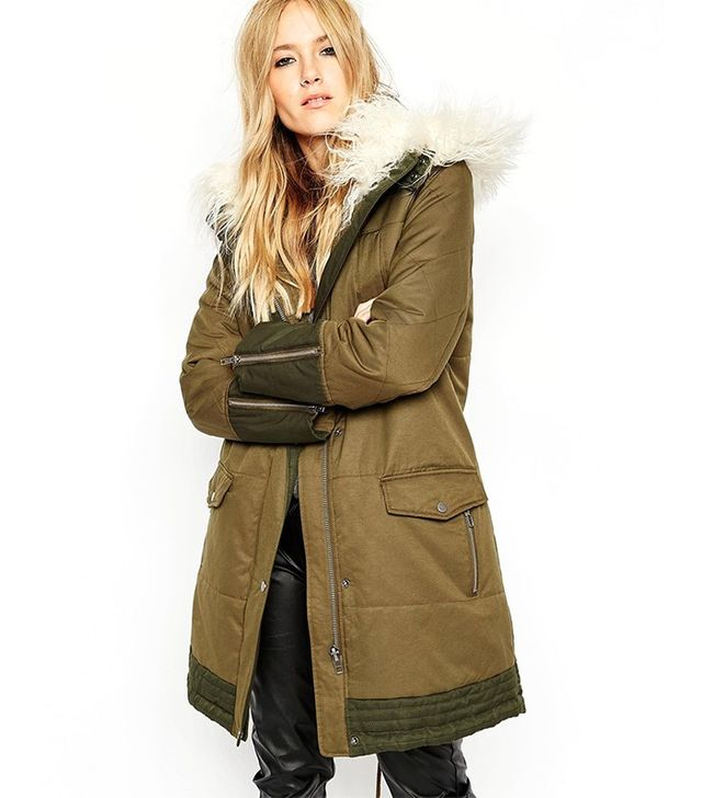 ASOS Parka with Quilt Detail and Faux Mongolian Fur Trim