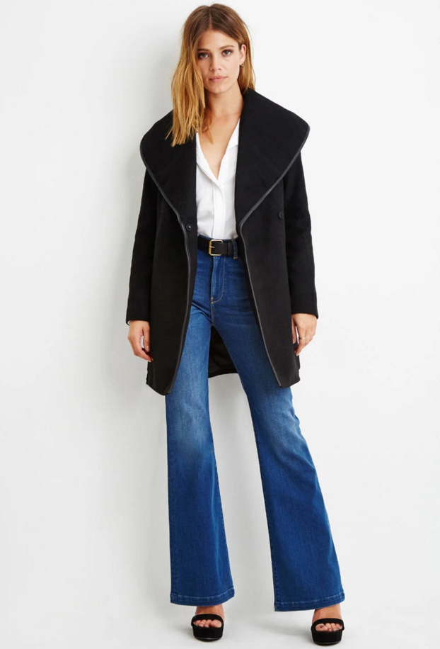 Forever 21 Contemporary Belted Wool-Blend Coat