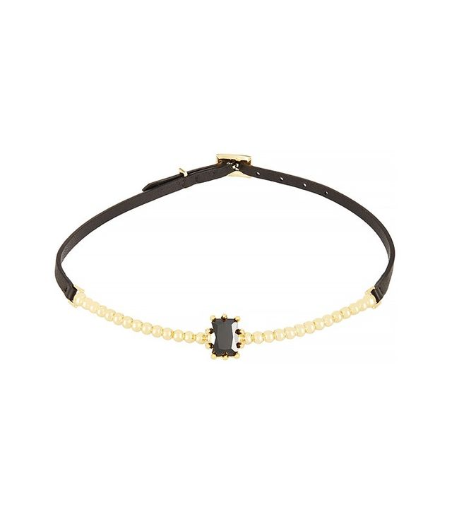 Eddie Borgo Dome Estate Crystal & Leather Choker Necklace