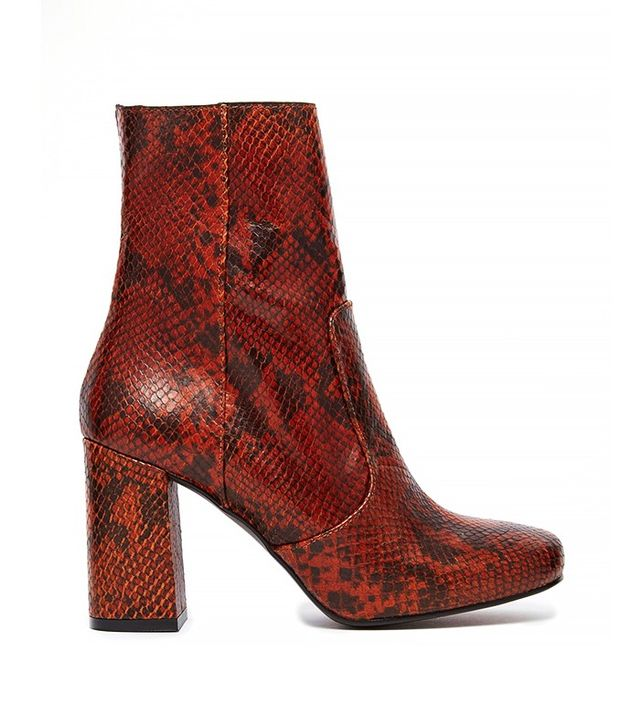 KG by Kurt Geiger Snake Skin Print Leather Mid Calf Boots