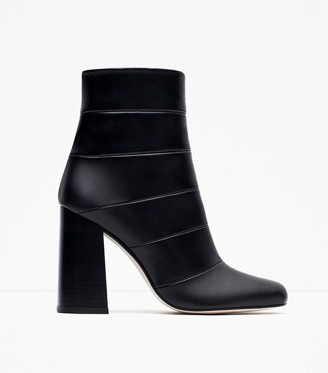 Zara High Heel Combined Leather Ankle Boots