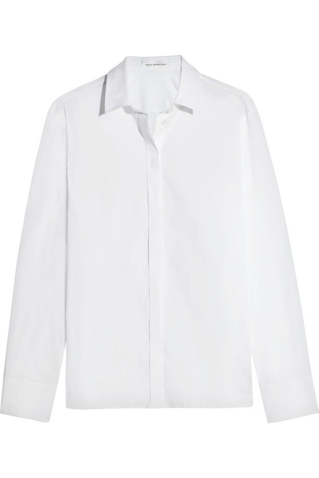 Victoria Beckham Denim Stretch Cotton-Blend Poplin Shirt