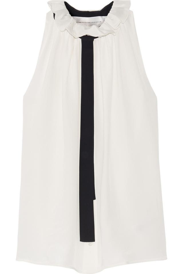 Victoria Beckham Denim Ruffled Silk-Crepe Top