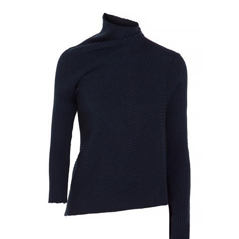 Asymmetric Ribbed Merino Wool Turtleneck Sweater