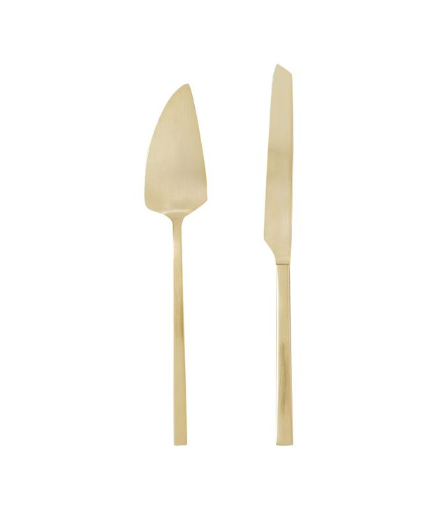West Elm Gold Cake + Knife Set