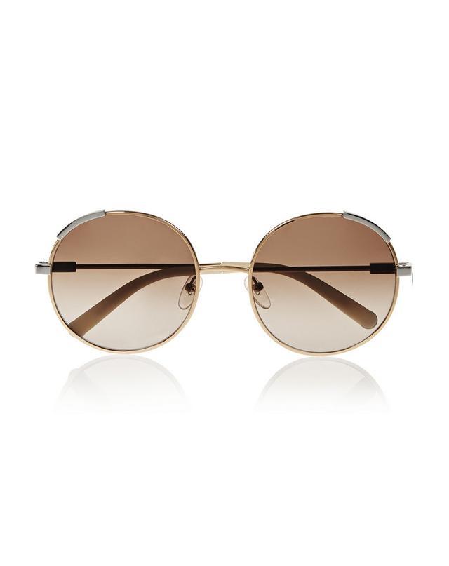 Chloe Round-Frame Metal Sunglasses