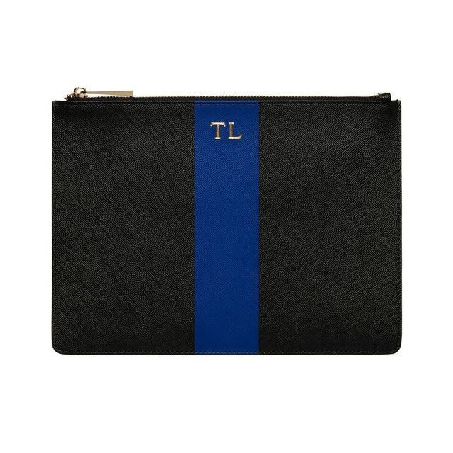 The Daily Edited X Lara Worthington Black Pouch With Navy Stripe