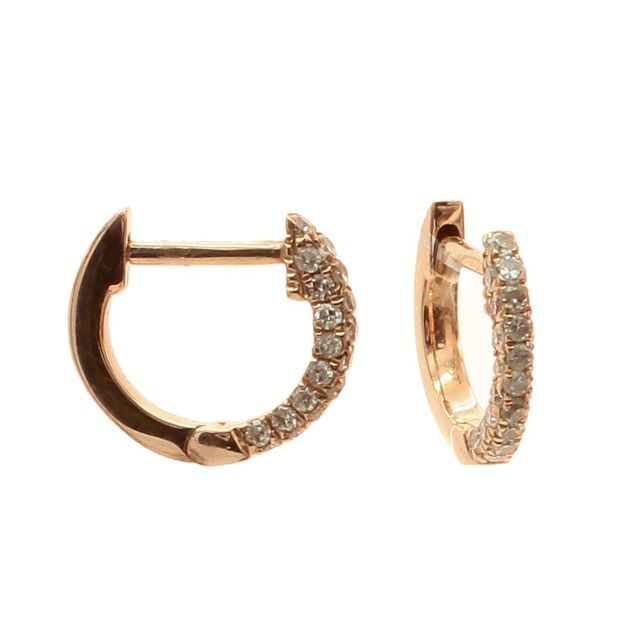 Meira T x Are You Am I Rose Gold Diamond Encrusted Hoop Earrings