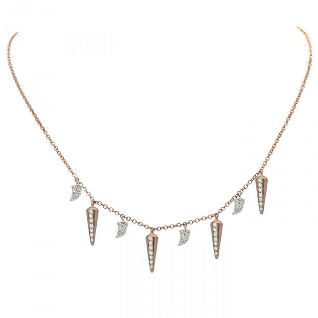 Meira T x Are You Am I Pink Gold Tusk and Spike Necklace