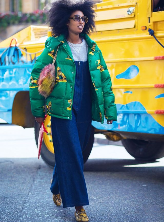 On Sarr-Jamois:Fendi bag; Gucci shoes. Street Style Notes: Give your down-filled coat the off-duty styling treatment with bright accessories packed with personality.