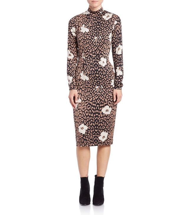 Essentiel Printed Mock-Neck Sheath Dress