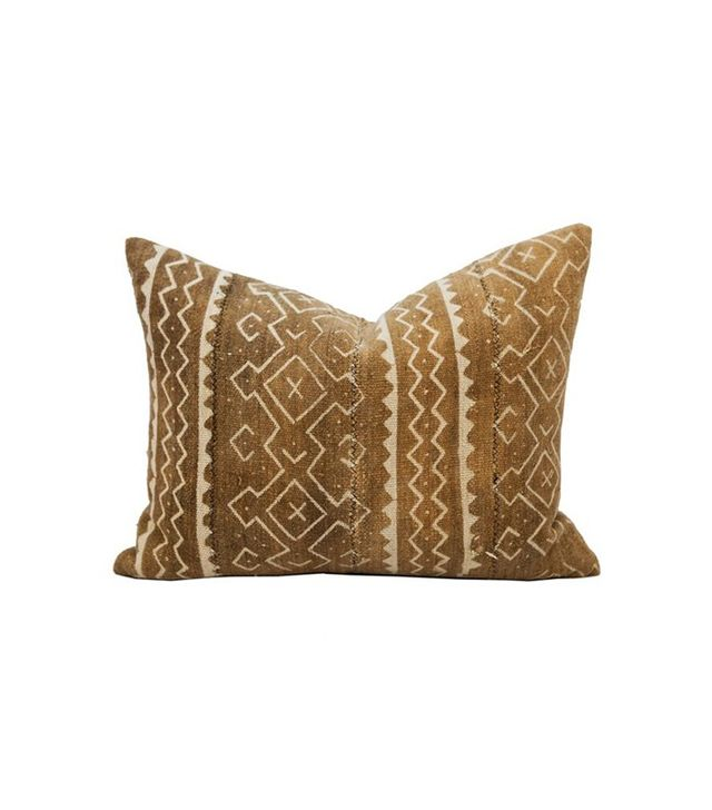 Katie Hodges Design Vintage Mudcloth Beige Textile Beige Bohemian Pillow