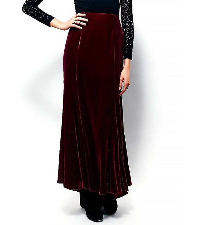Free People x Curtain Call Velvet Maxi Skirt