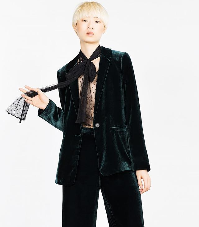 Zara Green Velvet Studio Jacket