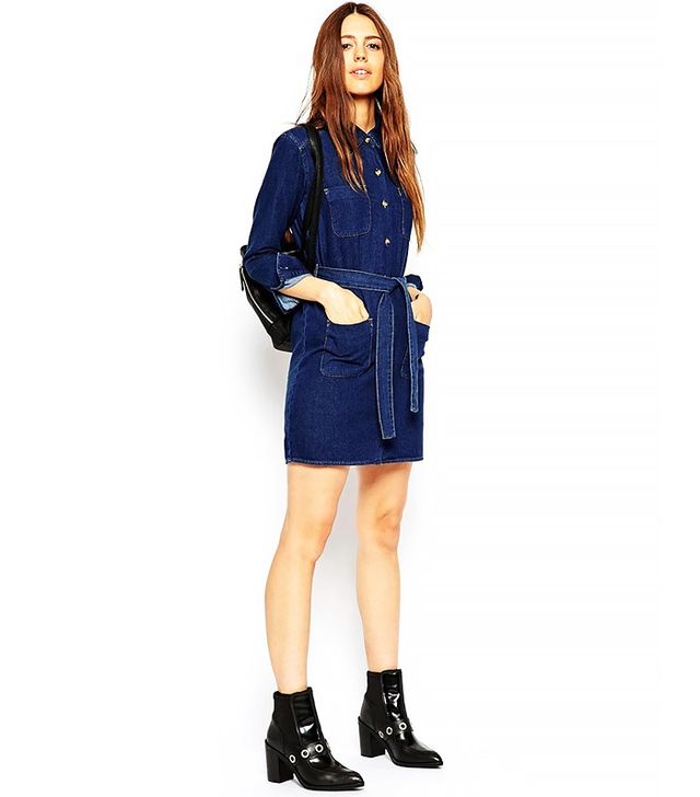 ASOS Denim Belted Shirt Dress in Rich Blue Wash
