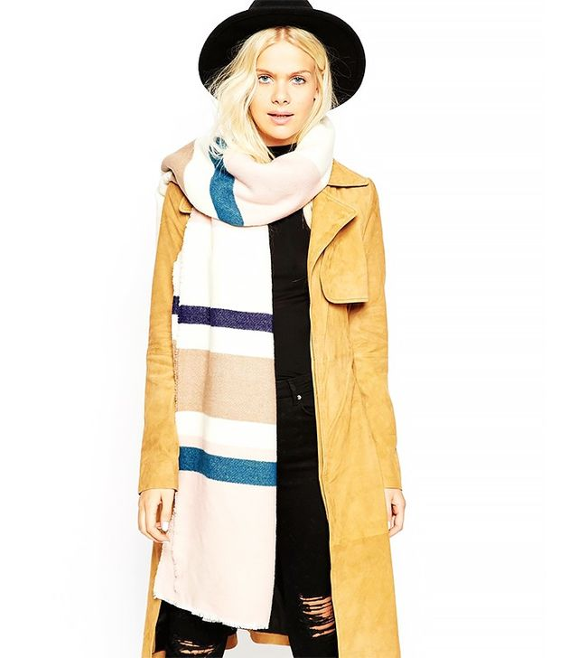 ASOS Oversized Scarf in Mixed Neutral Stripe