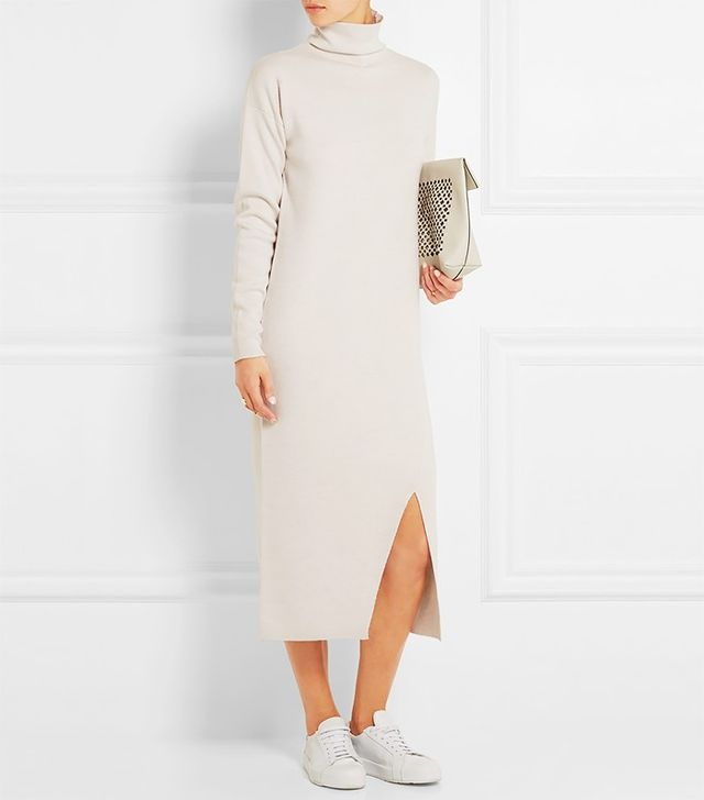 Tibi Turtleneck Merino Wool Midi Dress