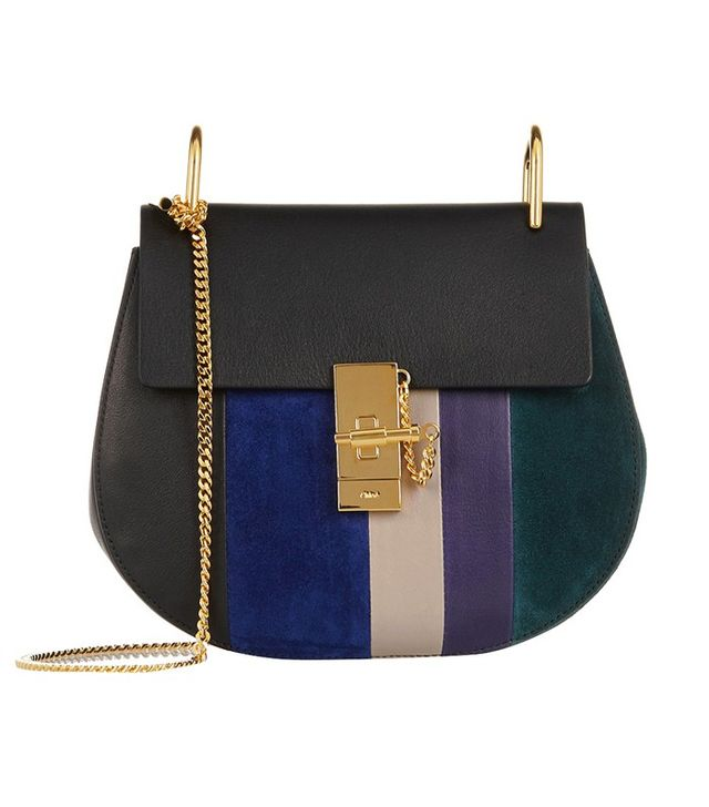 Chloé Drew Small Textrued-Leather and Suede Shoulder Bag