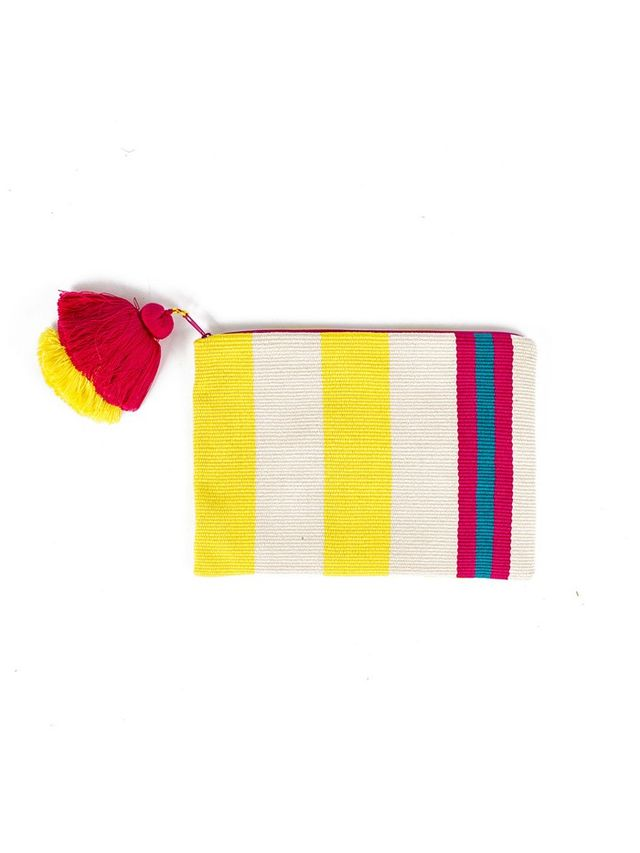Far & Wide Collective Yellow and White Striped Pouch