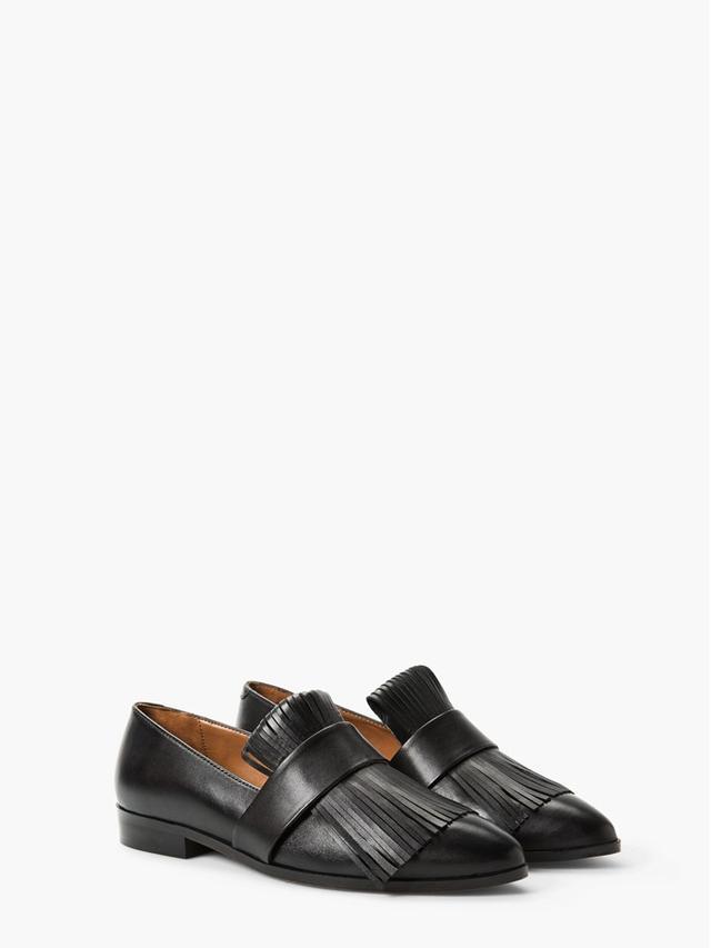 Mango Fringed Leather Shoes